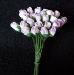 25 Mini Mulberry Paper Rose Buds Lilac